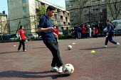Boy practicing ball skills on a football training session Kings Cross London - Duncan Phillips - 15-05-2000