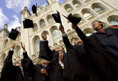 University graduation celebration, Guildhall, London. Throwing mortarboards into the air - Duncan Phillips - 01-03-2006