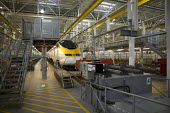 Eurostar Engineering Centre, Temple Mills, London. The facility is more than 400 metres long, and can take eight of Eurostar's 27-strong fleet of trains simultaneously. It cost �400million. - Duncan Phillips - ,2000s,2007,carriage,carriages,cities,city,depot,DEPOTS,EBF Economy,engineering,eurostar,fleet,infrastructure,locomotive,LOCOMOTIVES,maintaining,maintenance,network,RAIL,railway,railway engine,RAILWAY