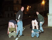 Drunk University Students mooning in the streets of Bangor after a night out - Duncan Phillips - 30-05-1999