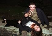 Drunk University Students in the streets of Bangor after a night out - Duncan Phillips - 30-05-1999
