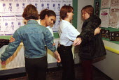 Nightclub security searching clubbers before entering a nightclub Bangor, Wales. - Duncan Phillips - 30-05-1999