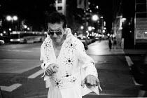 Man Dressed As Elvis Presley Posing, New York City, USA - Duncan Phillips - 13-08-2002