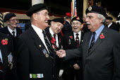 """Leslie Thomas author of """"the Virgin Soldiers"""" meeting members of the National Service veterans association. Remembrance service London - Duncan Phillips - 10-11-2004"""
