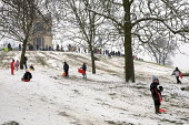 People enjoying the snow, Alexandre Palace, London. - Duncan Phillips - 2000s,2009,child,CHILDHOOD,children,cities,city,CLIMATE,cold,conditions,enjoying,ENJOYMENT,holiday,holidays,ice,juvenile,juveniles,kid,kids,Leisure,LFL,LIFE,london,outdoors,park,parks,people,precipita