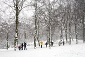 People enjoying the snow, Alexandre Palace, London. - Duncan Phillips - 2000s,2009,cities,city,CLIMATE,cold,conditions,enjoying,ENJOYMENT,holiday,holidays,ice,Leisure,LFL,LIFE,london,outdoors,park,parks,PEOPLE,precipitation,RECREATION,RECREATIONAL,sledge,sledging,snow,sno