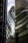 The Gherkin, skyscraper in the city of London financial district. - Duncan Phillips - 2000s,2008,30,ACE,architecture,arts,axe,bank,BANKS,building,buildings,cities,city,culture,district,Dresdner Kleinwort,EBF,EBF Economy,Economic,Economy,finance,financial,Gherkin,insurance,London,mary,m