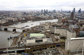 View of the the river Thames, The Royal Festival Hall, Waterloo Bridge, The National Theatre on the South Bank, and the city of London from the London eye - Duncan Phillips - 04-04-2010