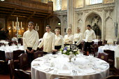 Catering staff preparing for a banquet at the Guildhall, London - Duncan Phillips - 2000s,2009,banquet,banqueting,cater,caterer,caterers,catering,cities,city,dinner,dinners,drink,EARNINGS,EBF,Economic,Economy,employee,employees,Employment,EQUALITY,feast,FEMALE,food,FOODS,guildhall,ha