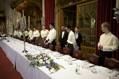 Catering staff preparing for a banquet at the Guildhall, London - Duncan Phillips - 2000s,2009,banquet,banqueting,boss,bosses,cater,caterer,caterers,catering,cities,city,d,dinner,dinners,drink,EARNINGS,EBF,Economic,Economy,employee,employees,Employment,EQUALITY,feast,food,FOODS,guild