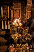 Shrine to Michael Jackson, Islington, London - Duncan Phillips - 2000s,2009,ACE,candle,candles,celebrity,cities,city,culture,DEATH,DEATHS,died,entertainer,entertainment,flower,flowering,flowers,grief,Islington,Jackson,lighted,London,melody,memorial,michael,mortalit