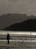 Woman walks alone on a deserted beach in winter. - Duncan Phillips - 15-07-2005