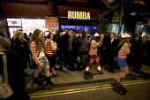 "Hen Party dressed up as ""where's Wally"" character, fancy dress outside the Rumba Club and Bar, West End, London - Duncan Phillips - 24-03-2012"