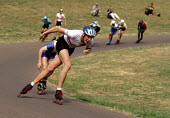 Athletes racing on rollerblades, London - Duncan Phillips - ,2000s,2005,athlete,Athletes,COMPETITATIVE,competition,helmet,HELMETS,London,PHYSICAL,race,races,racing,rollerblade,rollerblades,rollerblading,spo sport sports,sport,sports