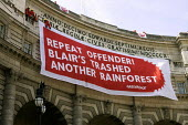 Greenpeace protest at Admiralty Arch, London protesting against illegal logged plywood from rainforests being used in its refurbishment. - Duncan Phillips - 12-07-2006