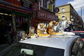 Cuddly toy stuffed Tigers of different sizes outside a pound plus shop, Green Lanes, London - Duncan Phillips - 22-07-2012