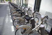Velib bicycle hire scheme, Paris, France. Ten thousand bicycles were introduced to the city with 750 automated rental stations each with fifteen or more bikes/spaces. This number has since grown to 20... - Duncan Phillips - 29-06-2010