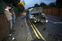 Debris of crashed car after hitting a railway bridge, London - Duncan Phillips - 11-07-2008