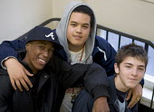 three young lads on stairwell - Duncan Phillips - 15-11-2005