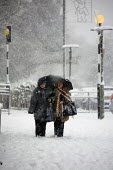 Severe cold weather brings disruption as heavy snow falls in London. - Duncan Phillips - 2010,2010s,adult,adults,AGE,ageing population,cities,city,CLIMATE,cold,conditions,disruption,ELDERLY,freezing,frozen,heavy,ice,icy,London,low,MATURE,OAP,OAPS,OLD,pedestrian,pedestrians,pensioner,PENSI