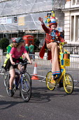 A clown, London Skyride 2009 The capital's roads were clear for the biggest mass participation cycling event ever held in London, which was organised by The Mayor, Sky and British Cycling. - Duncan Phillips - 2000s,2009,ace,bicycle,bicycles,BICYCLING,Bicyclist,Bicyclists,bike,bikes,cities,city,clown,clowns,CYCLE,cycles,cycling,Cyclist,Cyclists,health,highway,Leisure,LFL,LIFE,london,mass,Mayor,MAYORAL,MAYOR