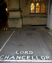 Parking space reserved for the Lord Chancellor, Hose of Commons, Parliament, London - Duncan Phillips - 2000s,2006,advantage,AUTO,AUTOMOBILE,AUTOMOBILES,AUTOMOTIVE,car,car park,car parks,cars,chancellor,elite,elitism,empty,EQUALITY,exclusive,exclusively,Hose,house,houses,INEQUALITY,job,jobs,law,London,L