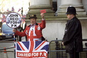 John Reid supporter Downing Street - Duncan Phillips - 2000s,2007,activist,activists,adult,adults,brown,budget,business,CAMPAIGNING,CAMPAIGNS,chancellor,CLJ,cut,DEMONSTRATING,DEMONSTRATION,DEMONSTRATIONS,economic,economy,force,gordon,John,john bull,Labour