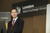 Nick Clegg at the London stock Exchange calling for a cross-party Council of Financial Stability to agree the timetable and scale of deficit reduction. - Duncan Phillips - 22-03-2010
