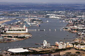 Aerial View of London - Thames Estuary and Thames Barrier - Duncan Phillips - 2010s,2013,aerial,BAD,barrier,building,buildings,cities,city,cityscape,cityscapes,EBF,Economic,Economy,estuaries,estuary,EXTREME,flood,flooding,FLOODS,london,outdoors,outside,River Thames,SEVERE,skyli