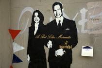 A bit like marmite. William and Kate Royal wedding Graffiti and wedding invitation, Islington, London, uk - Duncan Phillips - 28-04-2011