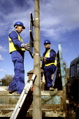 Council workers erecting road safety signs, Harrow, London - Duncan Phillips - 29-09-2005