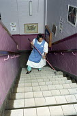 Council cleaners cleaning a Primary School , Harrow, London - Duncan Phillips - 29-09-2005