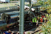 Scene of Paddington Rail Crash - Duncan Phillips - 1990s,1999,accident,accidental,ACCIDENTS,adult,adults,CLJ,Crash,DIA disasters & accidents,fire brigade,FIREFIGHTER,firefighters,fireman,firemen,force,MATURE,network,officer,OFFICERS,paddington,police,