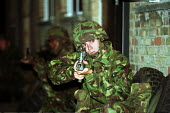 Territorial Army on weekly training session, Engineering Explosives Ordnance Disposal. Holloway London. Weapons Training. - Duncan Phillips - 18-10-2001