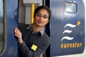 Eurostar Staff, modelling new uniforms, Waterloo Station London - Duncan Phillips - 26-02-2004