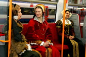 Henry 8th look a like promoting South West Trains Waterloo Station London. - Duncan Phillips - 23-11-2004