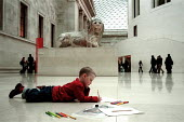Child Drawing British Museum London. - Duncan Phillips - 2000s,2005,ACE arts culture,ace culture,Art,attentive,boy,boys,bright,child,CHILDHOOD,children,cities,city,Day Trip,drawing,edu education,education,engaged,history,intelligence,intelligent,interacting