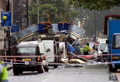 London double decker bus destroyed by suspected suicide bomber. Upper Woburn Sq and Taverstock Square. London - Duncan Phillips - 2000s,2005,7/7,attack,attacking,attacks,blast,bomb,bombing,bombings,bombs,bus,bus service,buses,death,deaths,died,explosion,EXPLOSIONS,fatal,fatality,fatally,forensic,FORENSICS,incident,incidents,inve