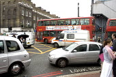 Traffic Chaos due to terrorist attack.London double decker bus destroyed by suspected suicide bomber - Duncan Phillips - 07-07-2005