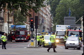 Emergency services at the scene of London double decker bus destroyed by suspected suicide bomber - Duncan Phillips - 07-07-2005
