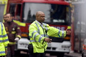 Police directing traffic at the scene of the London double decker bus destroyed by suspected suicide bomber - Duncan Phillips - 07-07-2005