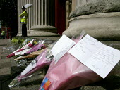 Bunches of flowers at the scene of the London double decker bus destroyed by suspected suicide bomber - Duncan Phillips - 08-07-2005