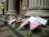 Bunches of flowers at the scene of the London double decker bus destroyed by suspected suicide bomber - Duncan Phillips - 07-07-2005