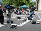 Media at the scene of the London double decker bus destroyed by suspected suicide bomber - Duncan Phillips - 08-07-2005
