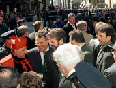 Sinn Fein Pres Gerry Adams greets New York Cardinal John O Connor on the steps of St Patricks Cathedral during the 1996 St Patricks' Day Parade . They are joined by Congressman Peter King, center with... - Oistin - 1990s,1996,America,Cardinal,Cathedral,CATHEDRALS,Catholic,Catholicism,New,Parade,POL politics,priest,PRIESTS,rlb religion & belief American,York