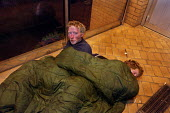 Two men sleep rough at the entrance to modern buildings in one of Glasgow. The men are brothers and have been drug users and homeless for several years. - Gerry McCann - 22-09-2002