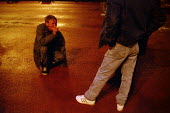 Homeless man collapses, soup kitchen, George Square, Glasgow, his illness is caused by heroin use - Gerry McCann - 22-09-2002