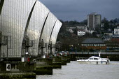 The Thames Barrier. A white boat approaches the main flood gates. - Geoff Crawford - 02-01-2003
