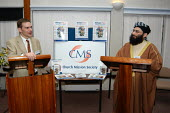 Shayk Ibrahim Mogra, chair of the Mosques and Community Affairs Committee of the Muslim Council of Britain and Islamics tutor Rev Dr Toby Howarth. He was speaking at the launch of 'Dialogue' a Church... - Geoff Crawford - ,-,2000s,2003,and,BAME,BAMEs,Black,BME,bmes,christian,Church,Church of England,churches,cleric,CLERICS,Council,dialogue,diversity,divide,ethnic,ethnicity,faith,Ibrahim,imam,inter,inter-faith,Islam,ISL