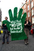 Protesters march against GM food production in London. placard reads - What part of NO GM did you not understand? October 13th 2003 - Geoff Crawford - 13-10-2003